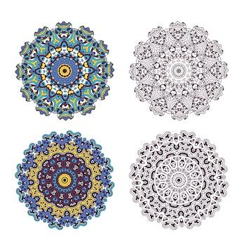 Zestaw elementu streszczenie projektu. ilustracja okrągłe mandale