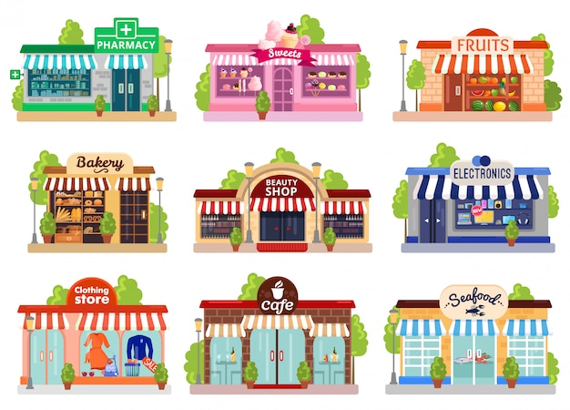 Zestaw elewacji sklepowych