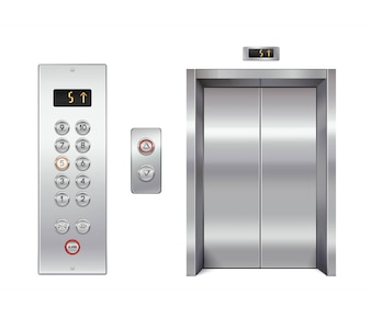 Zestaw elewatorów z zamkniętymi drzwiami i panelem przycisków