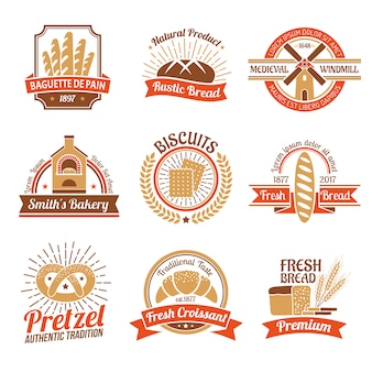 Zestaw emblemat logo piekarnia