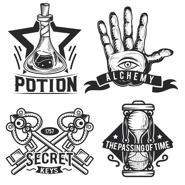 Zestaw emblematów alchemicznych, etykiet, odznaki, logo.