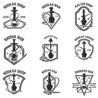 Zestaw emblematów bar hookah. na logo, etykietę, znak, odznakę. ilustracja