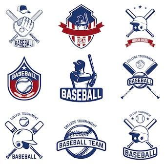 Zestaw emblematów baseballowych. turniej baseballowy. elementy logo, etykiety, godło, znak. ilustracja