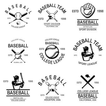 Zestaw emblematów baseballowych