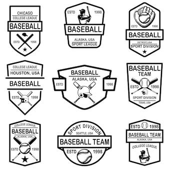 Zestaw emblematów baseballu.
