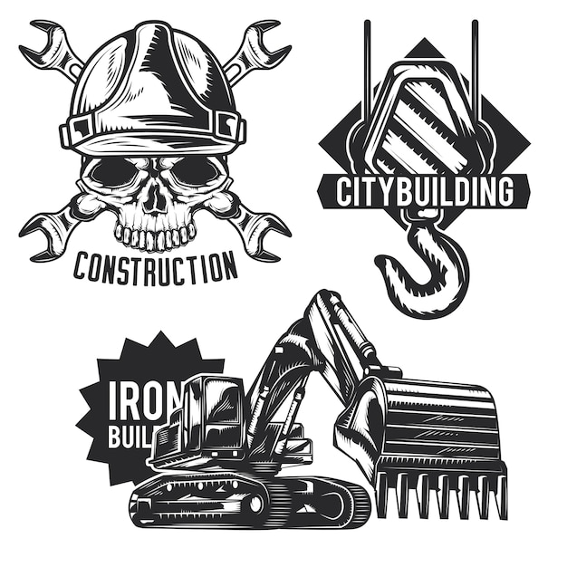 Zestaw emblematów budowlanych, etykiet, odznak, logo.