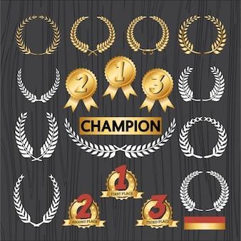Zestaw emblematów champion