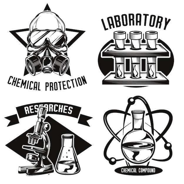 Zestaw emblematów chemii