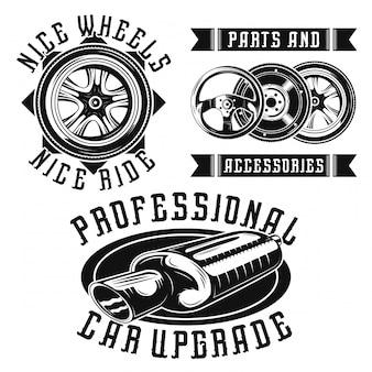 Zestaw emblematów części samochodowych