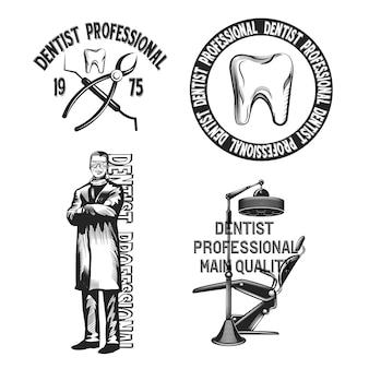 Zestaw emblematów dentystycznych na białym tle.
