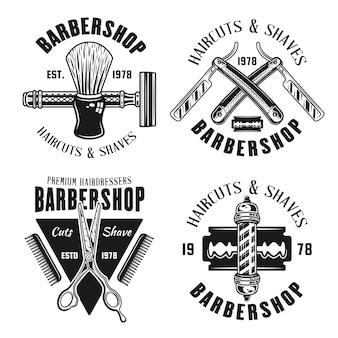 Zestaw emblematów dla zakładów fryzjerskich