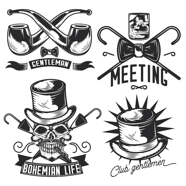 Zestaw emblematów dżentelmen, etykiet, odznaki, logo.