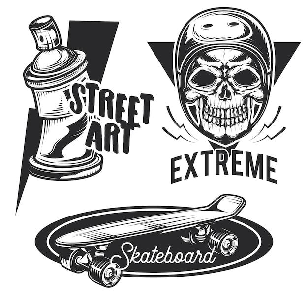 Zestaw emblematów działań ulicznych, etykiet, odznak, logo.