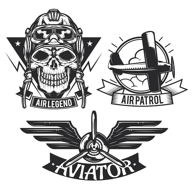 Zestaw emblematów elementów samolotu, etykiet, odznaki, logo.