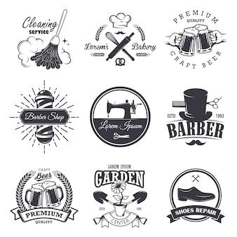 Zestaw emblematów, etykiet, odznak i logo vintage warsztatów, styl monochromatyczny