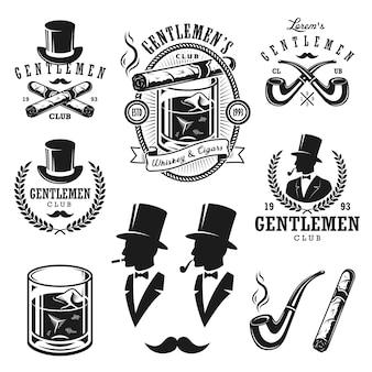 Zestaw emblematów, etykiet, odznak i zaprojektowanych elementów panowie vintage. styl monochromatyczny