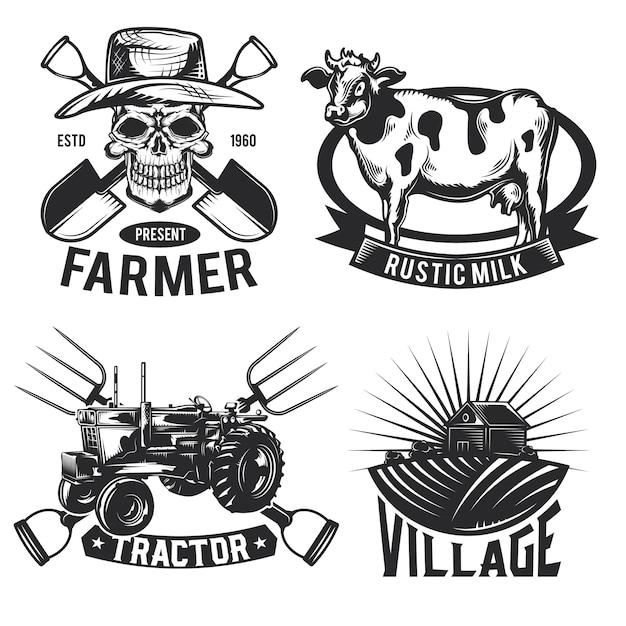 Zestaw emblematów, etykiet, odznak, logo rolnictwa.
