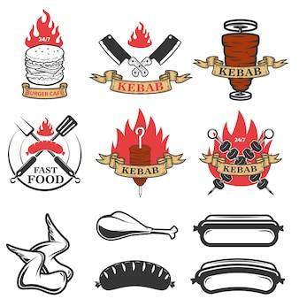Zestaw emblematów fast food i elementów. doner kebab. projektowanie elementów logo, etykiety, godła, znaku. ilustracja
