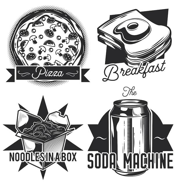 Zestaw emblematów fastfood, etykiet, odznaki, logo. na białym tle