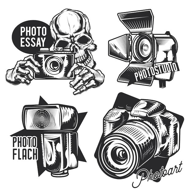 Zestaw emblematów fotografa, etykiet, odznak, logo.