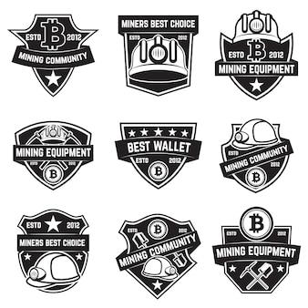Zestaw emblematów górniczych kryptowaluty na białym tle. elementy logo, etykiety, godła, znaku. ilustracja