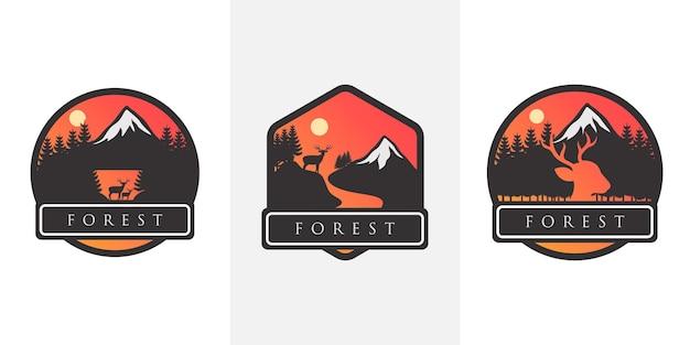Zestaw emblematów górskich podróży. naszywka z emblematem, odznaką i logo na kempingu. turystyka górska, piesze wycieczki. etykieta obozu w dżungli w stylu vintage