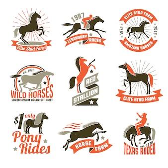 Zestaw emblematów herby konia hodowlanego