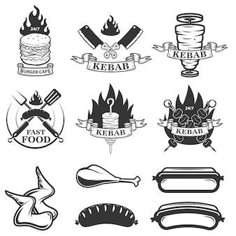 Zestaw emblematów i elementów fast food. doner kebab elementy projektu dla logo, etykiety, godła, znak. ilustracja