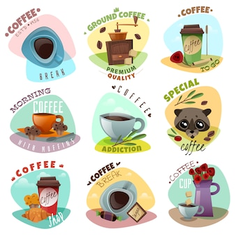 Zestaw emblematów kawiarni