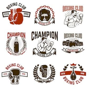 Zestaw emblematów klubu bokserskiego. rękawice bokserskie. elementy logo, etykiety, godło, znak. ilustracja