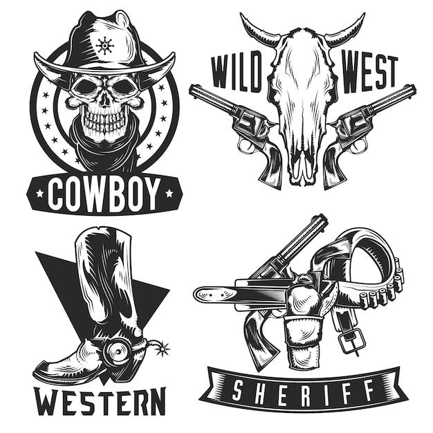 Zestaw emblematów kowbojskich, etykiet, odznaki, logo. na białym tle