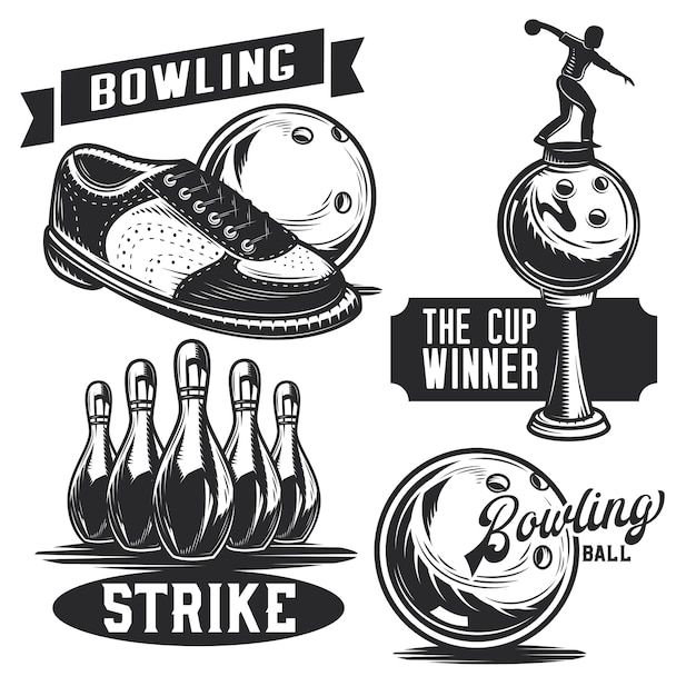 Zestaw emblematów kręgle, etykiet, odznaki, logo.
