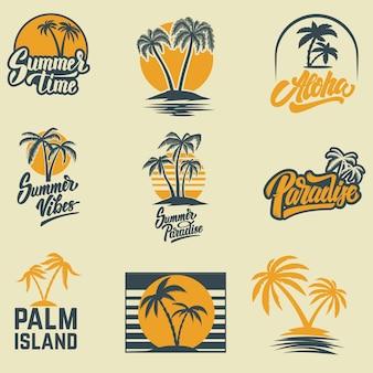 Zestaw emblematów letnich z palmami. godło, znak, logo, etykieta, odznaka. wizerunek