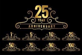 Zestaw emblematów logo rocznicy Premium