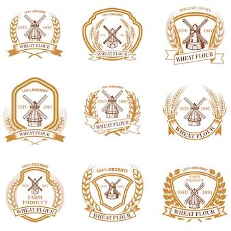 Zestaw emblematów mąka pszenna. element na znak, odznakę, etykietę, plakat, kartę. wizerunek