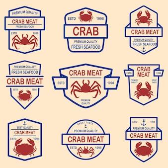 Zestaw emblematów mięsa kraba.