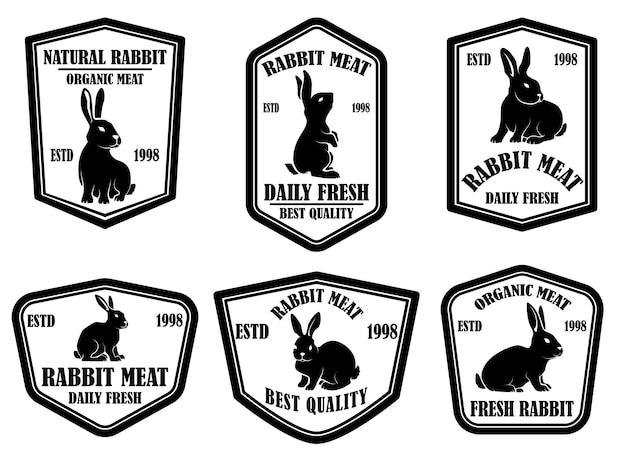 Zestaw emblematów mięsa królika. element projektu logo, etykieta, znak, baner, plakat. ilustracja wektorowa