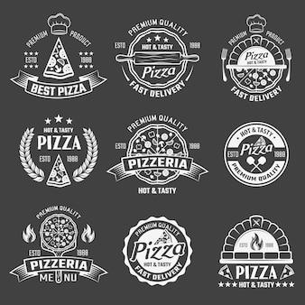 Zestaw emblematów monochromatyczne pizza