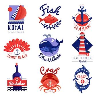 Zestaw emblematów morskich