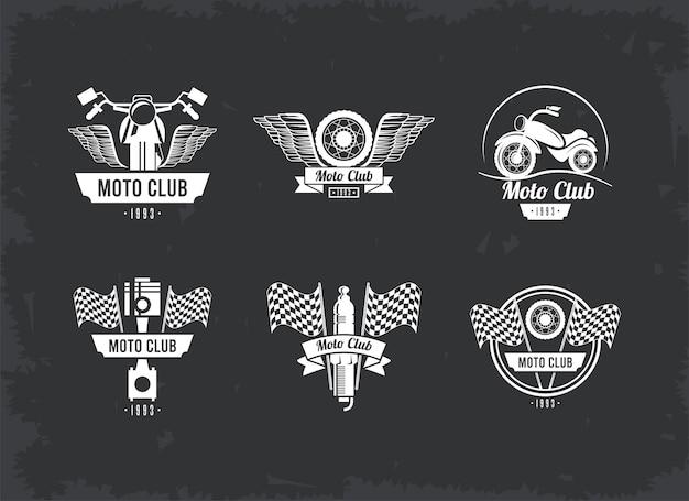 Zestaw emblematów motocyklistów
