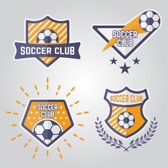 Zestaw emblematów na białym tle piłka nożna, logo drużyny sportowej piłki nożnej