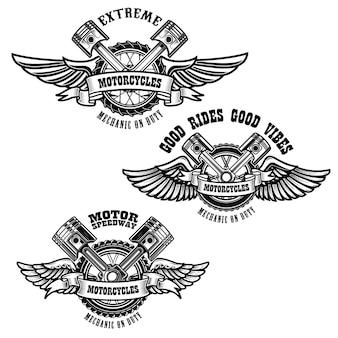 Zestaw emblematów naprawy motocykla. silnik rowerowy, tłoki. element projektu logo, etykiety, godła, znaku, plakatu.
