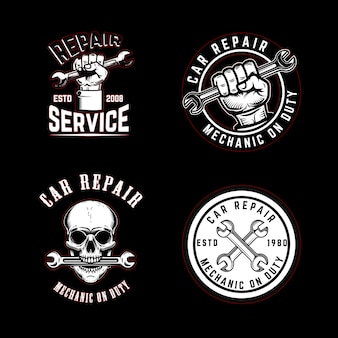 Zestaw emblematów naprawy samochodu