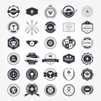Zestaw emblematów, naszywek i pieczęci retro - herby i etykiety