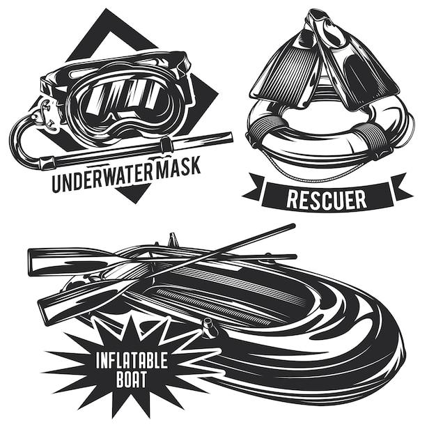 Zestaw emblematów nurkowych, etykiet, odznaki, logo.