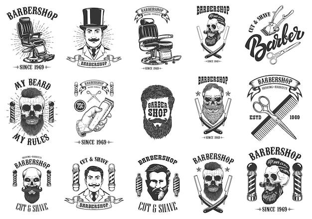 Zestaw emblematów, odznak i elementów projektu fryzjera vintage