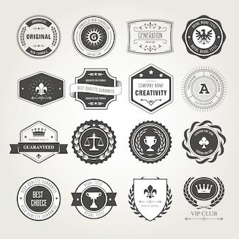 Zestaw emblematów, odznak i pieczęci - projekty nagród i pieczęci