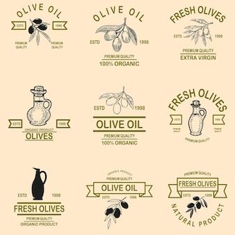 Zestaw emblematów oliwy z oliwek.