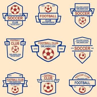 Zestaw emblematów piłka nożna, piłka nożna.