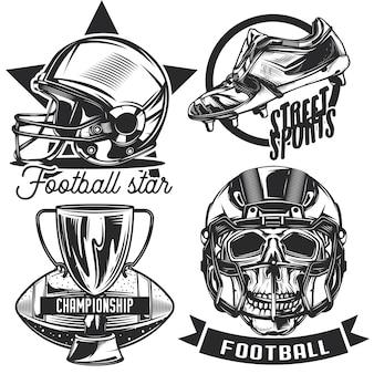 Zestaw emblematów piłkarskich, etykiet, odznak, logo. na białym tle